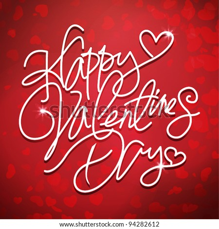 Happy valentines day handwritten text