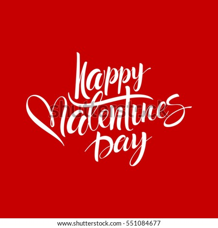 Happy valentines day handwritten text on blurred background. Vector illustration #551084677