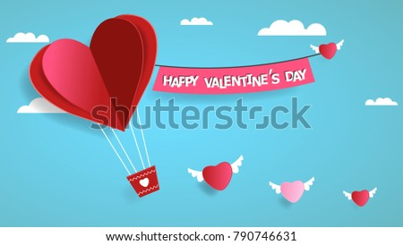 Happy valentines day. Heart on sky background. Vector illustration. #790746631