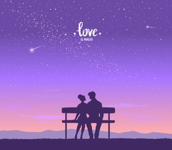 Happy Valentines Day illustration. Romantic silhouette of loving couple at night under the stars. Vector illustration