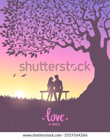 Happy Valentines Day illustration. Romantic silhouette of loving couple under big tree. Vector illustration