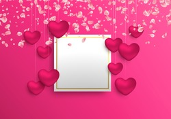Happy Valentines Day illustration template. Realistic 3d heart shape decoration in pink colors with empty copy space frame for love message.