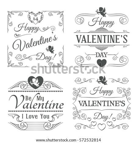 Happy Valentines Day Labels and Cards Set. Typographic Ornaments, Hearts, Cupids and Calligraphic Elements #572532814