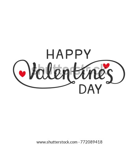 Happy Valentines Day large postcard with calligraphic text