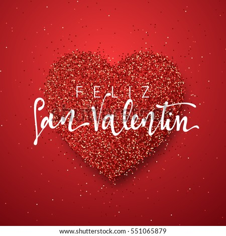 Happy Valentines Day. lettering Spanish Inscription handmade. Greeting card on red bright heart background. Decoration for design of brochures, posters, web. World celebration love