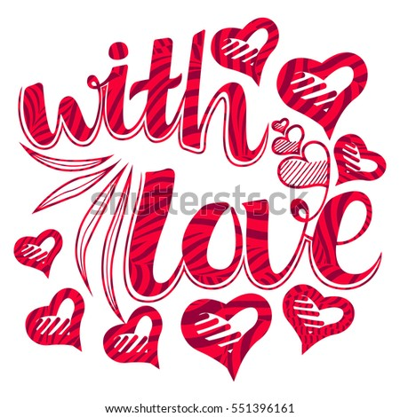 Happy Valentines Day Lettering With Love Design Elements For