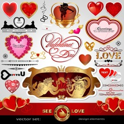 Happy Valentines Day, Love vector set; Abstract, vintage, Christmas, retro hearts and ornaments for design; Antique, art banner, frame, card, label, greetings and invitation for marriage and wedding