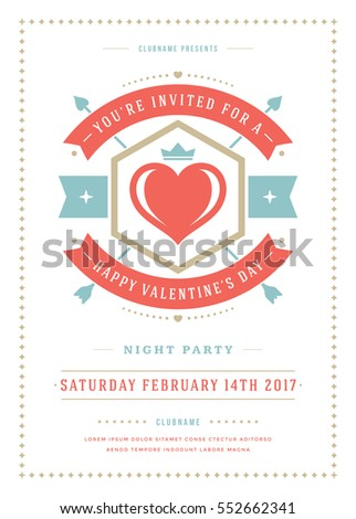 Happy valentines day party invitation or poster vector illustration happy valentines day party invitation or poster vector illustration retro typography design heart shape stopboris Image collections