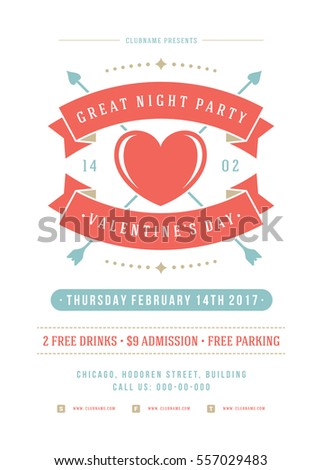 Happy valentines day party invitation or poster vector illustration happy valentines day party invitation or poster vector illustration retro typography design heart shape love symbol and elements flyer template stopboris Image collections