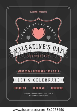 Happy valentines day party invitation or poster vector illustration happy valentines day party invitation or poster vector illustration retro typography design heart shape stopboris Gallery