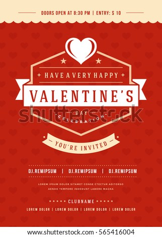 Happy Valentines Day Party Invitation or Poster Vector illustration. Retro typography design. Heart shape love symbol and elements, flyer template. #565416004