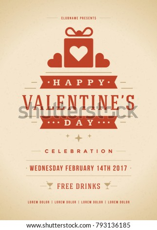 Happy Valentines Day Party Invitation or Poster Vector illustration. Retro typography design. Heart shape love symbol and elements, flyer template. #793136185