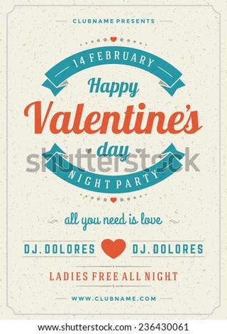 RoyaltyFree Happy Valentines Day Retro Party Flyer