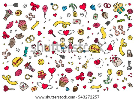 Happy Valentines Day pattern. Colored doodle symbols of love and Valentines Day vector illustration. On whitebackground.