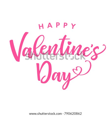 Happy Valentines Day Pink Color Lettering Card Greeting Card