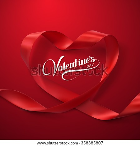Happy Valentines Day. Red Ribbon Heart. Vector Illustration Of Looping Ribbon.