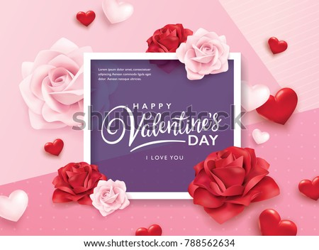 Happy valentines day greeting card download free vector art happy valentines day romance greeting card with roses and hearts m4hsunfo