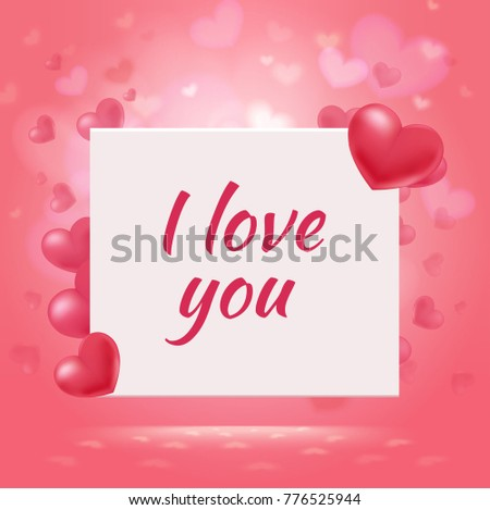 Shutterstock Happy Valentines Day romantic background with red elegant hearts and amorous inscription on white card vector illustration