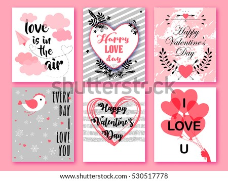 happy valentines day set of