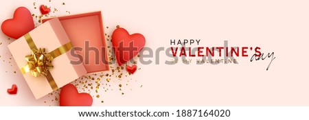 Happy Valentines day template with open gift box. Romantic design Realistic decorative objects, red heart. Sale banner, surprise poster, flyer and brochure. Mock up holiday. Vector flat lay, top view