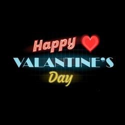 Happy Valentines Day text. Vector neon sign. Valentine's card.