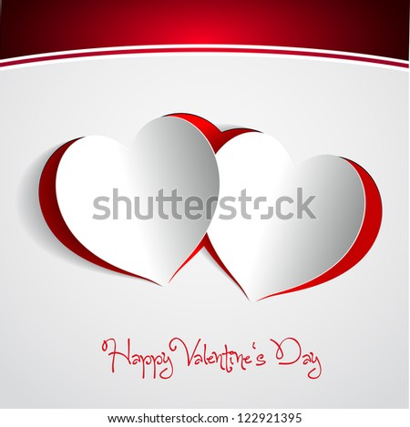 Happy Valentines Day - Two Red Heart Paper Sticker With Shadow - vector illustration Postcard