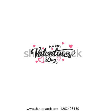 Happy Valentines Day typography poster with handwritten calligraphy text #1263408130