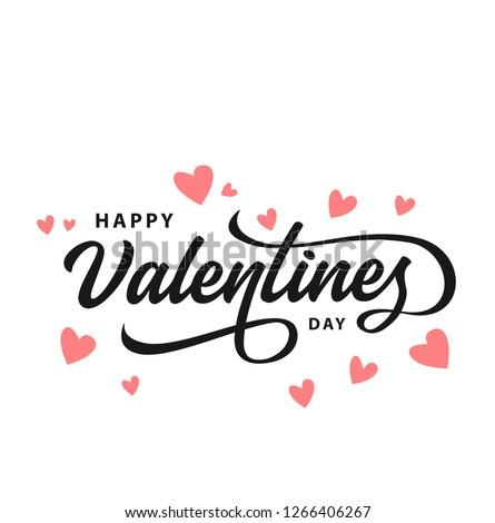 Happy Valentines Day typography poster with handwritten calligraphy text, isolated on white background. Vector Illustration - Vector #1266406267