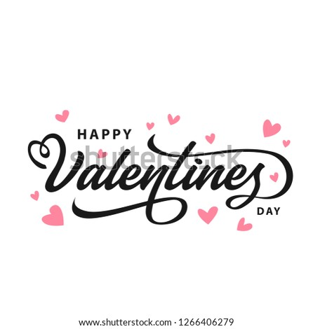 Happy Valentines Day typography poster with handwritten calligraphy text, isolated on white background. Vector Illustration - Vector #1266406279