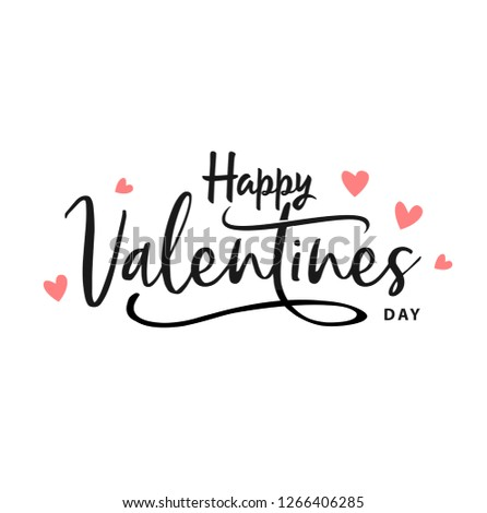 Happy Valentines Day typography poster with handwritten calligraphy text, isolated on white background. Vector Illustration - Vector #1266406285