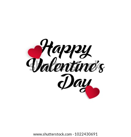 Happy Valentines Day typography poster with handwritten calligraphy text, Vector Illustration #1022430691