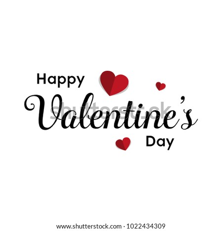 Happy Valentines Day typography poster with handwritten calligraphy text, Vector Illustration #1022434309