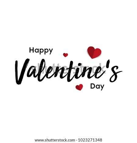 Happy Valentines Day typography poster with handwritten calligraphy text, Vector Illustration #1023271348