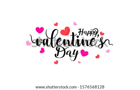 Happy Valentines Day typography poster with handwritten calligraphy, Wallpaper, flyers, invitation, posters, brochure, banners.