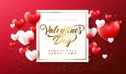 Happy Valentines Day typography sale poster with handwritten calligraphy golden text, isolated on white background.