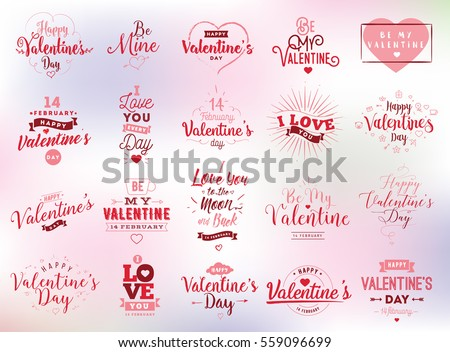 Happy Valentines day typography set. Vector text design. Usable for banners, greeting cards, gifts etc. 14 february.