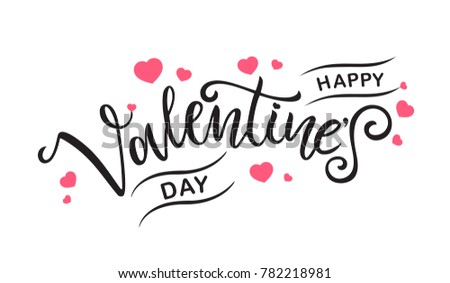 Happy Valentines Day typography vector design for greeting cards and poster. Valentines Day text on a white background. Design template celebration. Vector illustration. #782218981
