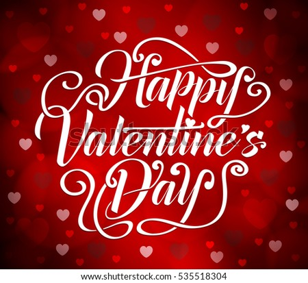 Happy Valentines Day Typography With Hearts And Circle Shapes In Red Background Vector Illustration