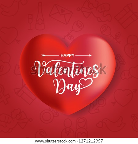Happy Valentines Day typography, with love icon set in line art style, Vector #1271212957