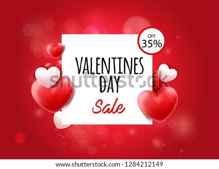 Happy Valentines Day. Valentines Day sale offer. Happy Valentines Day Card - Vector illustration. - Vector #1284212149