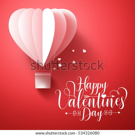 Happy valentines day vector greetings card design with 3d realistic paper cut heart shape flying balloon and hearts decorations in red background. Vector illustration.