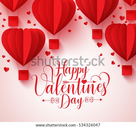 Happy valentines day vector greetings card design with paper cut red heart shape hot air balloons flying and hearts in white background. Vector illustration.