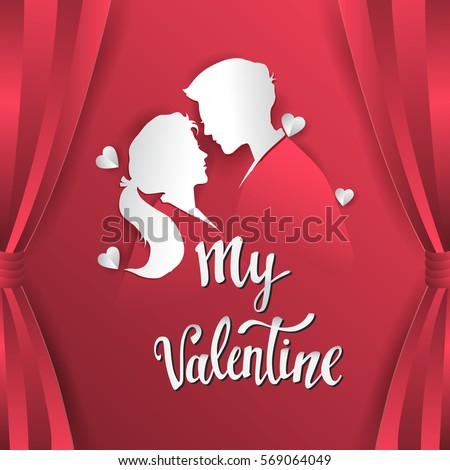 Happy valentines day vector greetings card lettering design with paper cut shape, couple mate in love and heart. isolated on red curtain background. #569064049