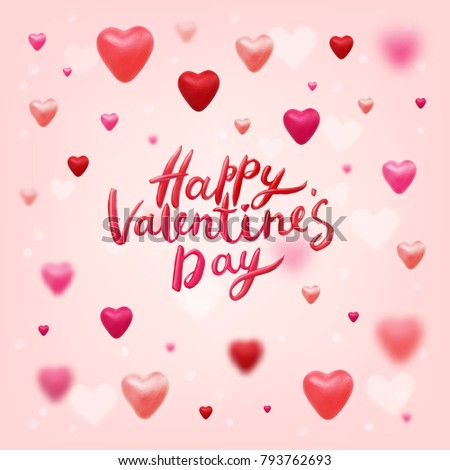 Picnetz Happy Valentines Day Vector Lettering And 3d Hearts On