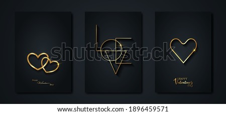 Happy Valentines day vector set greeting card. Gold heart on black background. Golden holiday poster with text, jewels. Concept for Valentines banner, flyer, party invitation, jewelry gift shop Photo stock ©