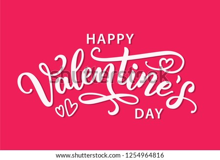 Happy Valentines Day with hearts shape greeting card on bright pink background. Hand drawn white text lettering for Valentines Day Vector illustration. Calligraphic design for print cards, banner