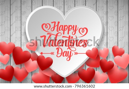 Happy valentines day with white and red heart on wood background