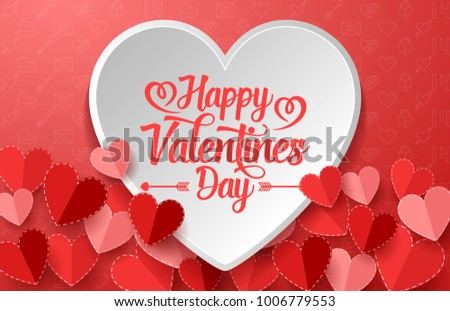 Happy valentines day with white and red hearts #1006779553