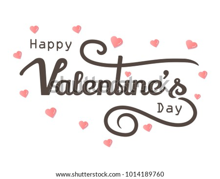 Happy Valentines Days with grunge paint design text pink heart, White background Vector Illustration #1014189760