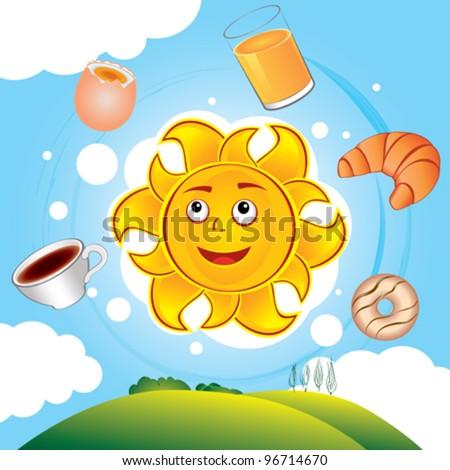 Happy vector cartoon sun cooked breakfast over the hills